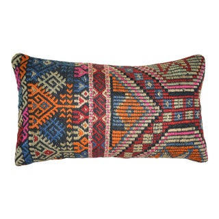 Vintage Jajim Kilim Pillow Cover, Vintage Flatweave Kilim Rug Pillow With Embroidered :12'' X 22'' (30 X 55 Cm) For Sale