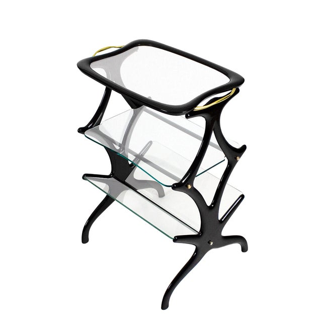 Cesare Lacca 1950´s Sidetable With Magazine Rack by Cesare Lacca, Beech, Glass, Brass - Italy For Sale - Image 4 of 8