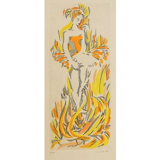 1960s Etching of French Dancer and Swans For Sale