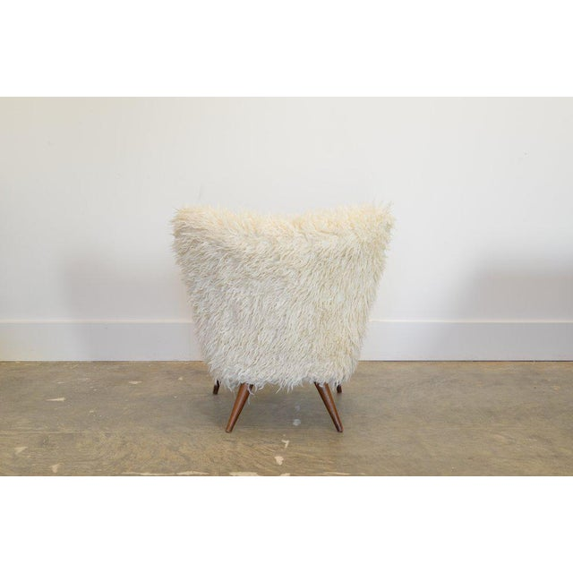 1950s Fluffy White Faux Fur Lounge Chair For Sale - Image 4 of 5