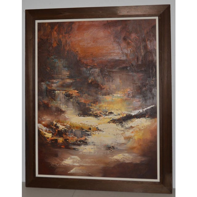 """Don Clausen """"Warm Winter Sky"""" Abstract Landscape Oil Painting C.1963 For Sale - Image 11 of 11"""