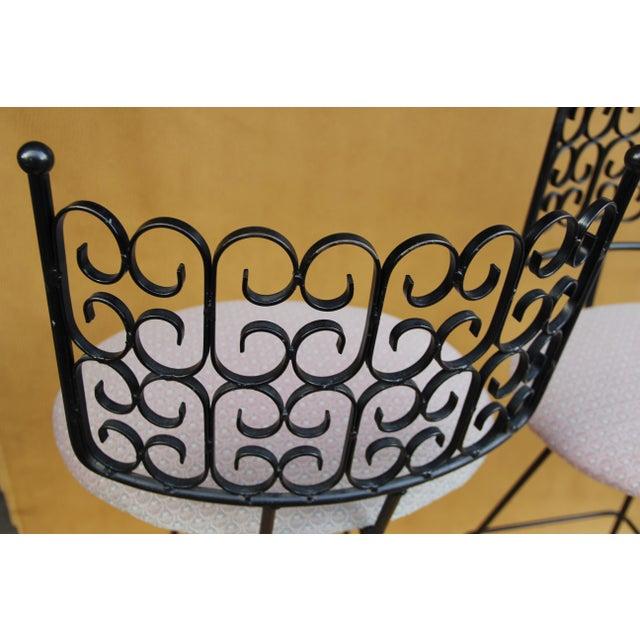 Arthur Umanoff Arthur Umanoff Wrought Iron Bar Stools - A Pair For Sale - Image 4 of 8