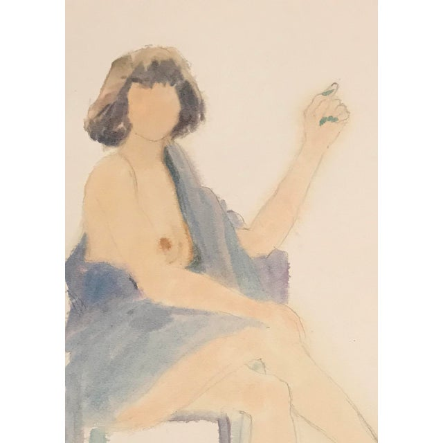 Contemporary 1980s Seated Female Nude Watercolor Painting For Sale - Image 3 of 4