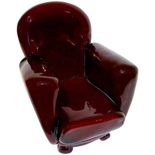 Pino Signoretto 1980s Italian Burgundy Red Murano Glass Miniature Armchair For Sale