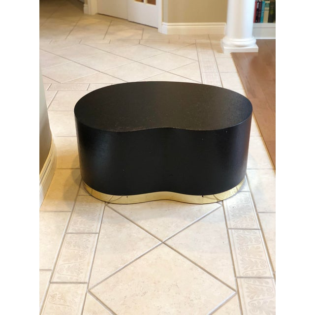 1970s Art Deco Karl Springer Kidney Black Grasscloth and Brass Coffee Table For Sale - Image 9 of 9