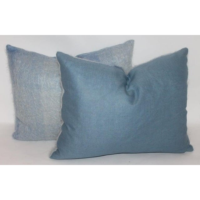 Mohair or Lambs Wool Blue Pillows - Set of 4 For Sale In Los Angeles - Image 6 of 7