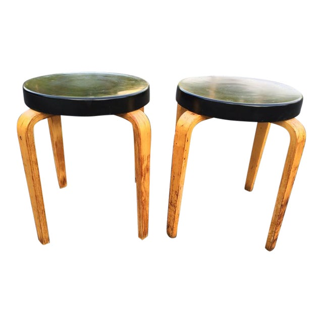 SOLD-Authentic Thonet Stacking Stool Tables - a Pair For Sale - Image 11 of 11