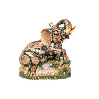 Vintage Ceramic Hand-Painted Elephant