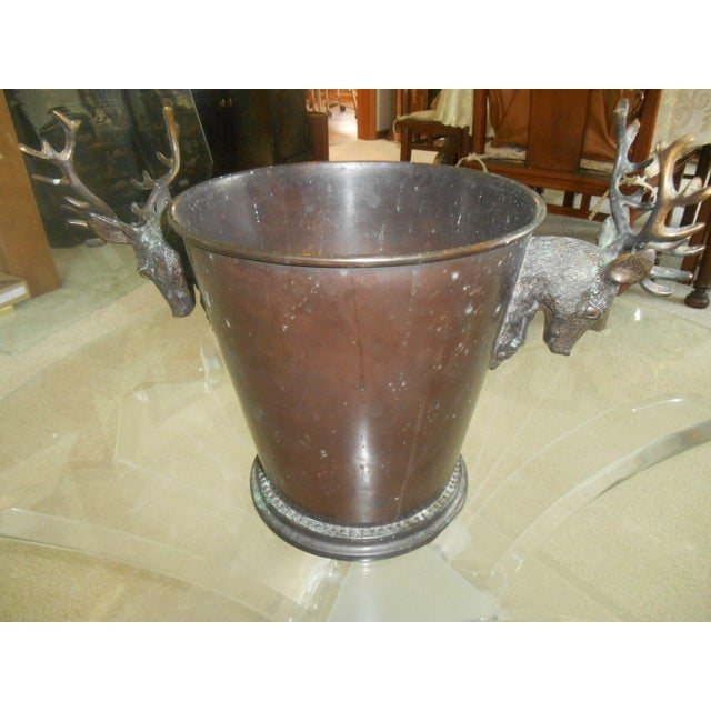 Vintage Bronze Ice Bucket with Stag Handles - Image 3 of 6