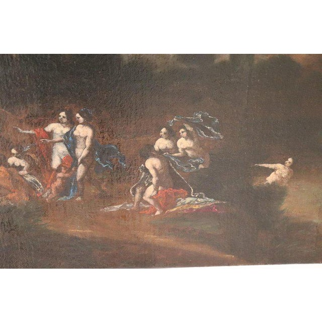 Canvas 17th Century Italian Oil Painting on Canvas, Landscape With Figures For Sale - Image 7 of 13