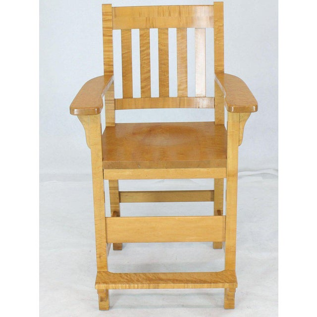 Tan Solid Brid's-Eye Maple High Pool Chairs Bar Stools For Sale - Image 8 of 13