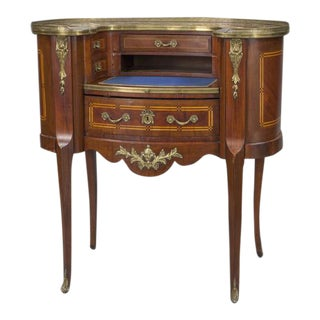 Early 20th Century French Louis XV Mahogany Kidney Shaped Ladies Desk For Sale