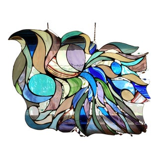 """Vintage Stained Glass Window Art Piece """"Tempestuous Cascade"""" For Sale"""