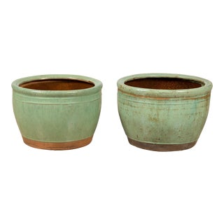 Near Large Vintage Chinese Green Glazed Ceramic Round Planters - A Pair For Sale