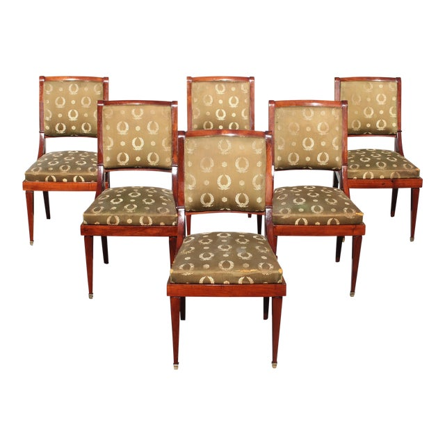 1910s Vintage French Empire Solid Mahogany Dining Chairs - Set of 6 For Sale