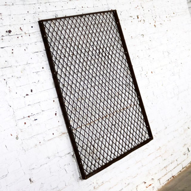 Americana Antique Primitive Industrial Woven Wire Window Security Guard For Sale - Image 3 of 13