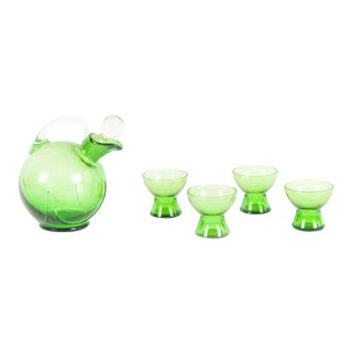 1970s Mid Century Modern Green Glass Jug and Cup Set - Set of 5 For Sale