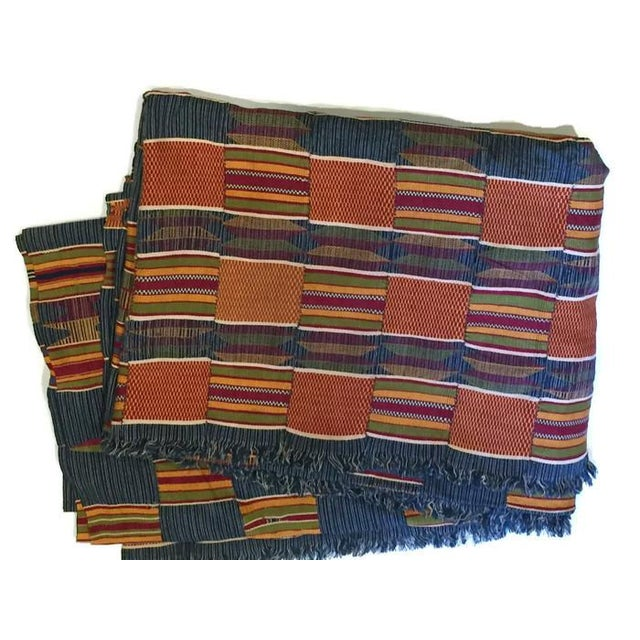Vintage African Textile Kente Cloth Cotton Fabric / Blanket - Image 7 of 10