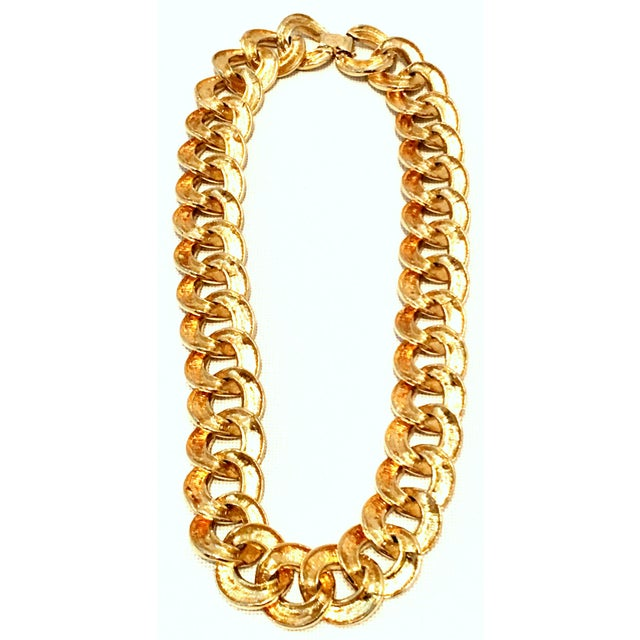 Metal 20th Century Les Bernard Gold & Enamel Chain Link Choker Necklace For Sale - Image 7 of 9