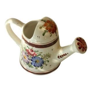 Vintage Handpainted Ceramic Watering Can For Sale