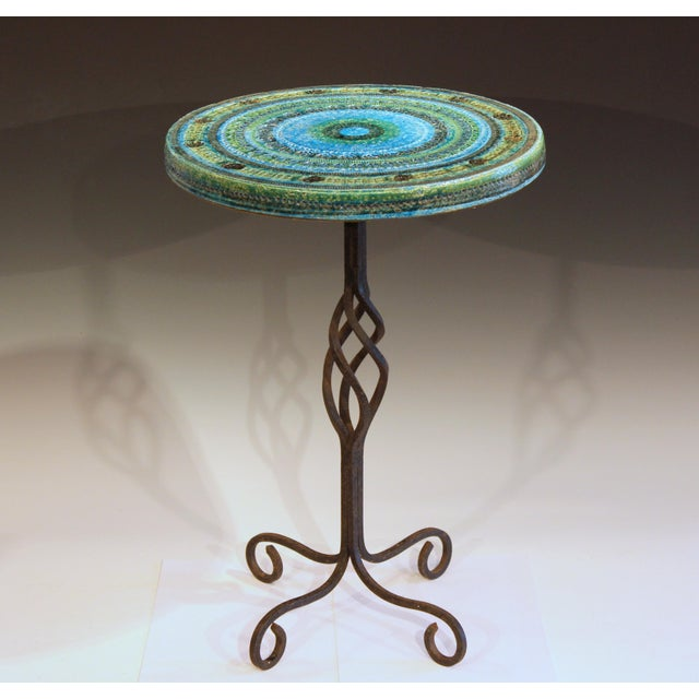 """Bitossi rimini blue side table with great wrought iron base, circa 1960's. 14 1/2"""" diameter, 21"""" high. Excellent..."""