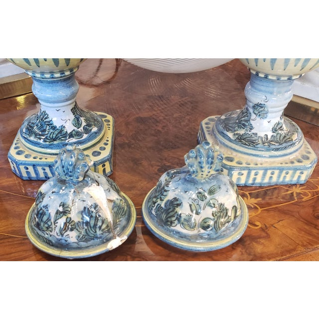 Pair 19th C. Majolica Vases With Lids For Sale - Image 4 of 7