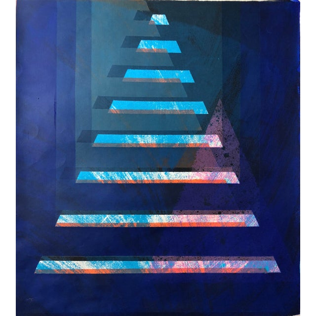 """1970s Abstract Silkscreen """"Pyramid"""" j.h. Turner For Sale - Image 9 of 9"""