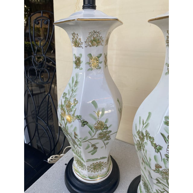 White Oriental Style With Flowers Lamps - A Pair For Sale - Image 8 of 10