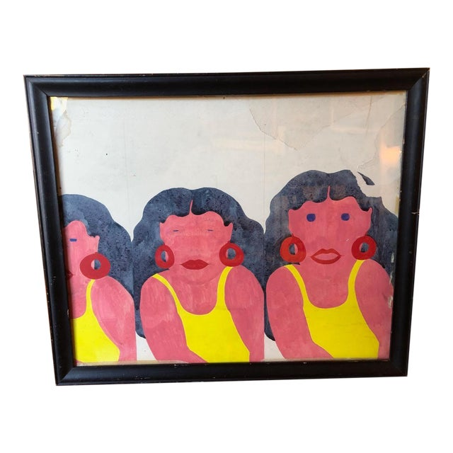 Yellow Swimsuit Sisters Painting on Paper For Sale