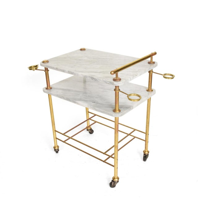 Mid Century Modern Bakery Service Table in Carrara Marble and Brass For Sale - Image 11 of 11