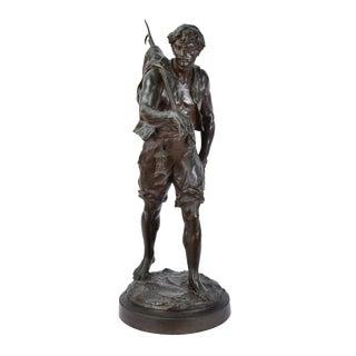 """""""The Whaler"""" Antique Emile Louis Picault French Bronze Sculpture For Sale"""