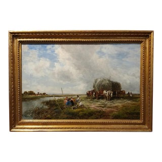"19th Century Edmund Morison Wimperis ""Harvesters Resting"" Oil Painting For Sale"