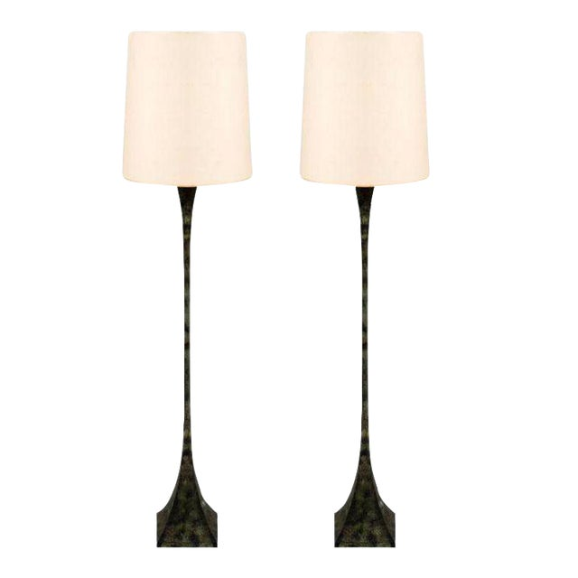 Hansen Verdigris Patinated Floor Lamps - a Pair For Sale