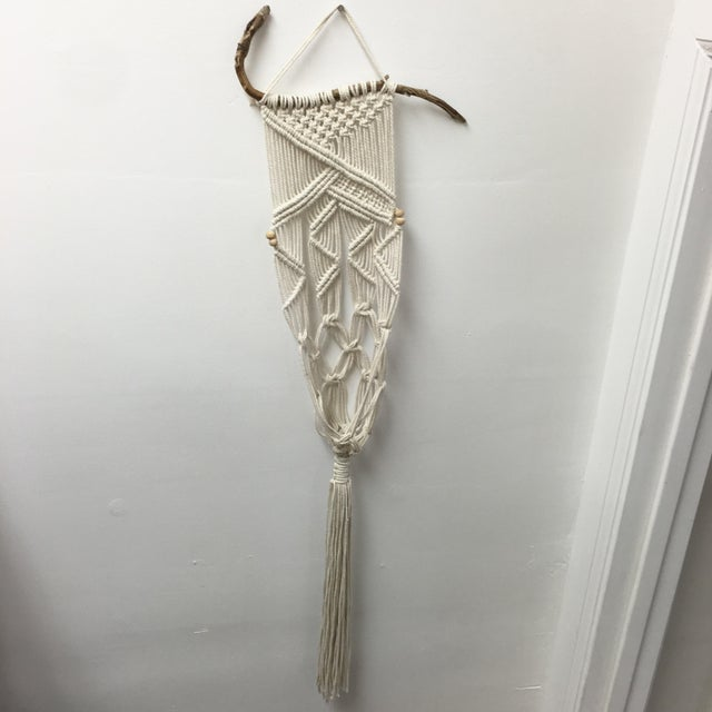 Handmade Macrame on Natural Branch - Image 2 of 8