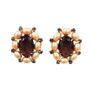 Hattie Carnegie Faux-Topaz & Faux-Pearl Earrings For Sale
