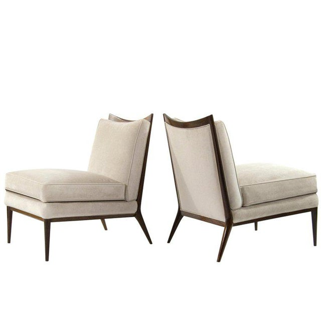 Wanut Frame Slipper Chairs by Paul McCobb for Directional - a Pair For Sale - Image 12 of 12