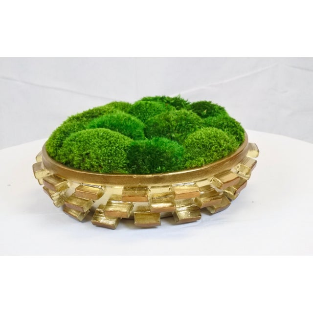 Goldleaf Cermaic Bowl With Preserved Moss - Image 3 of 3