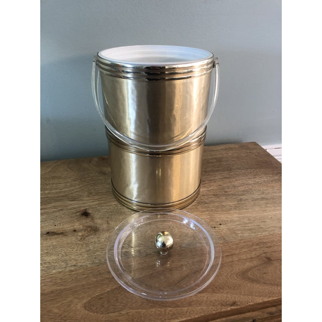 Georges Briard Georges Briard Mid Century Gold Lucite Ice Bucket For Sale - Image 4 of 9