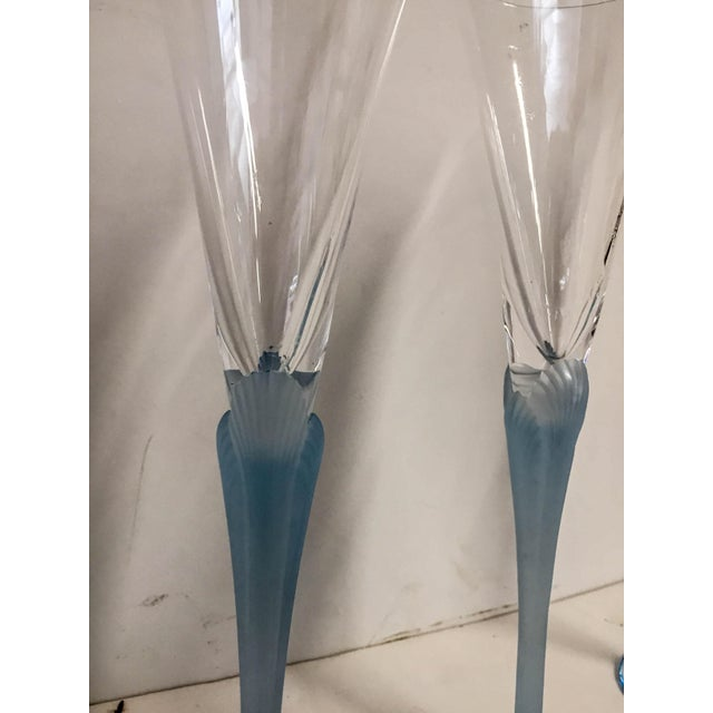 Blue Light Blue Frosted & Crystal Champagne Glasses - Set of 4 For Sale - Image 8 of 8