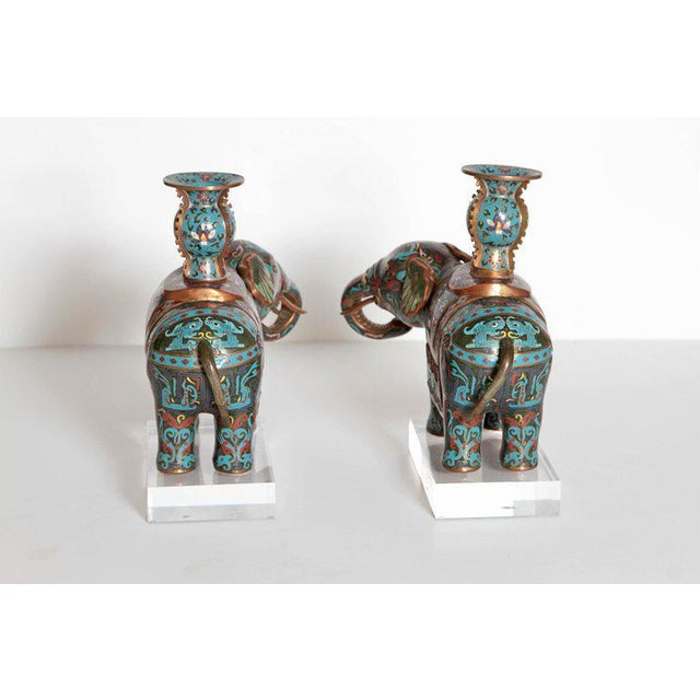 Pair of Chinese Cloisonne Elephants For Sale - Image 12 of 13