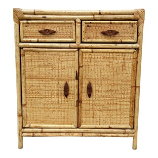 Natural Bamboo & Wicker Chest With Carved Knobs