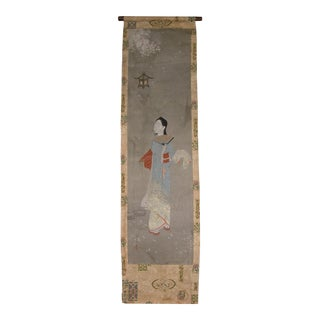 Early 20th Century Antique Japanese Painted Door Curtain For Sale