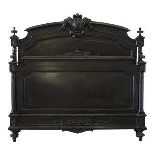 20th Century Queen-Size Ebonized Antique Louis XVI Style Bed For Sale