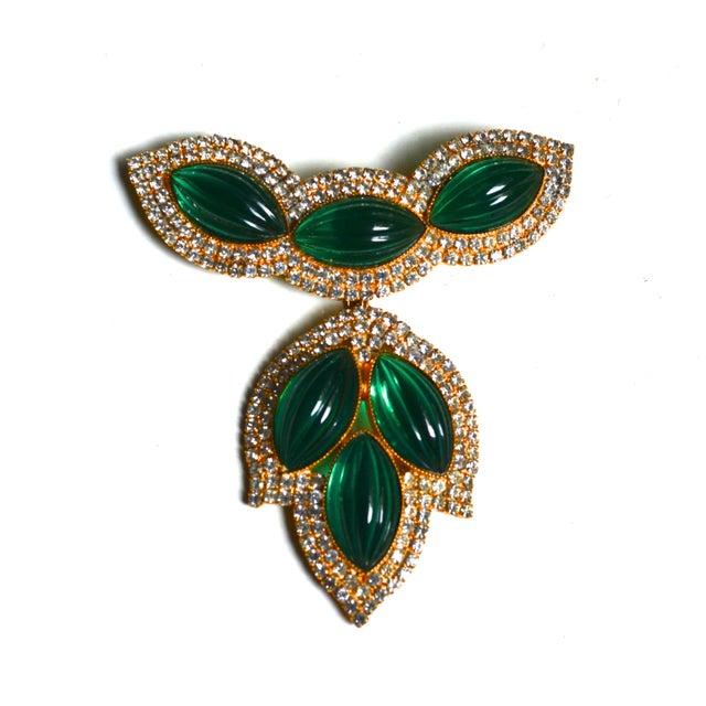 1960s William De Lillo Green Lotus Brooch For Sale - Image 5 of 5