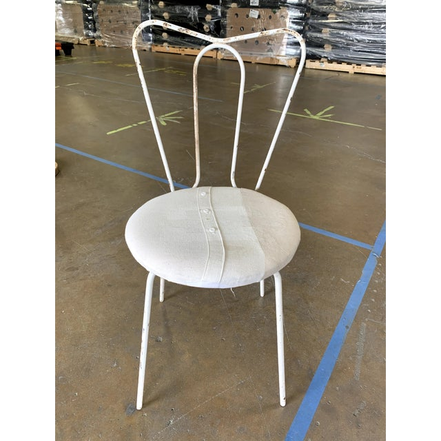 Traditional Vintage White Metal Garden Chair With Upholstered Seat For Sale - Image 3 of 4