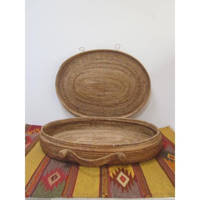 Large Oversized Vintage Oval Lidded Woven Storage Basket For Sale - Image 7 of 8