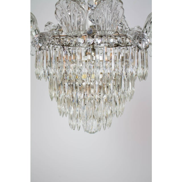 Early 20th Century Restored Antique Regency Style Silver and Crystal Chandelier For Sale - Image 5 of 8