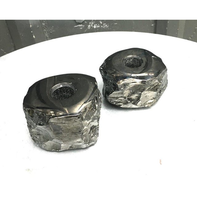 Brutalist 1960s Black Geode Candlesticks - a Pair For Sale - Image 3 of 4