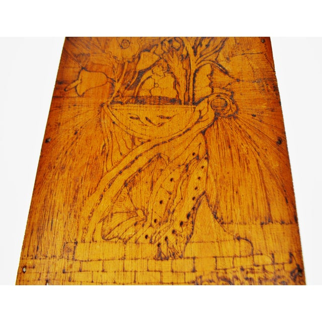 Art Nouveau Vintage Pyrography Floral Wall Art For Sale - Image 3 of 11