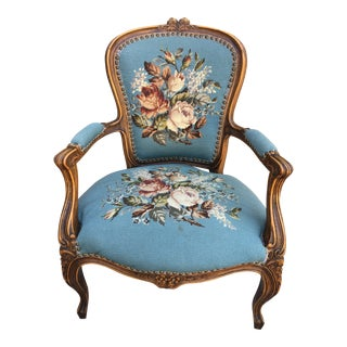 French Provincial Style Blue Needlepoint Chair